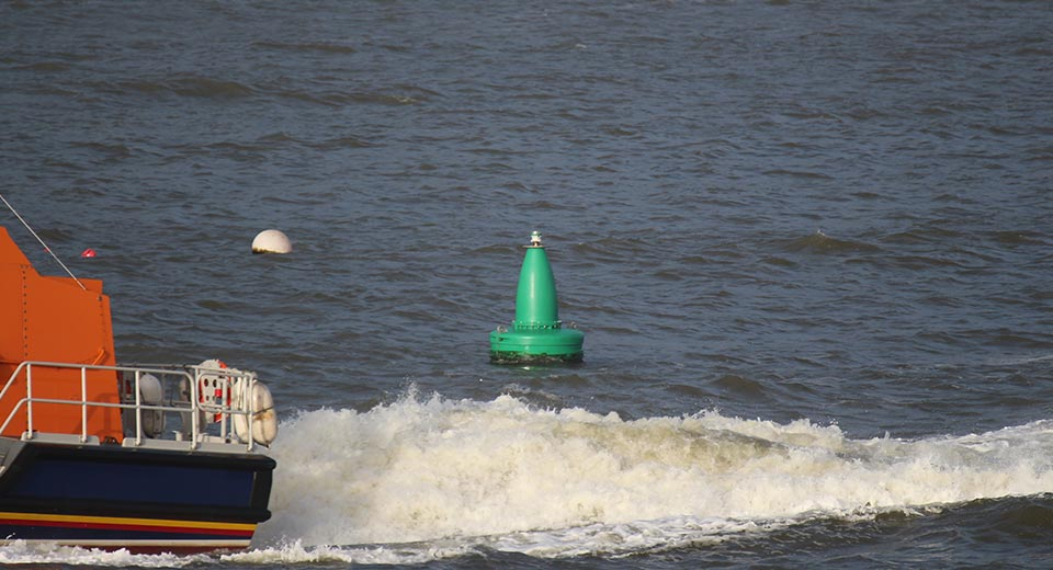 Green JFC Marine G1200 Gannet Navigation Buoy in use